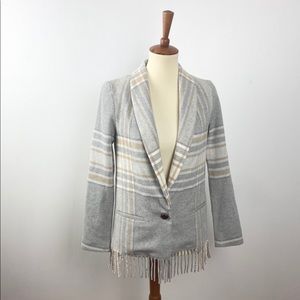 DREW Plaid Neutral Blazer with Fringe